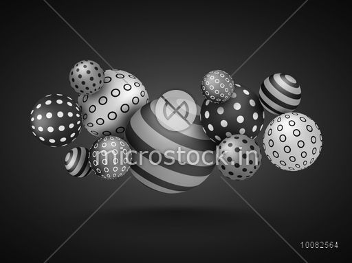 Creative realistic Spheres with striped and circle design, Vector Abstract Background.