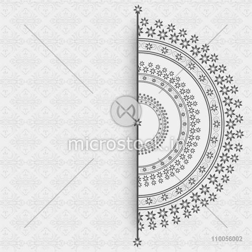Abstract design of half circle on grey floral decorated background.