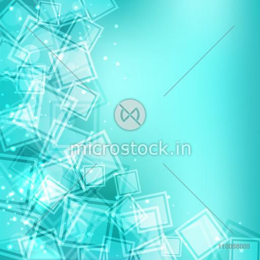 Abstract design of small squares on shiny sky blue background.