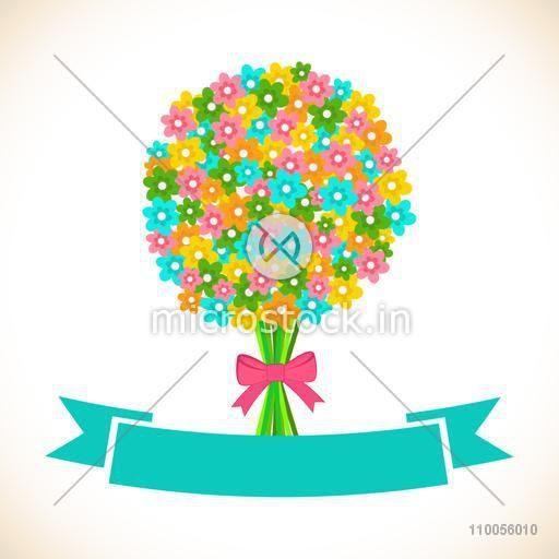 Abstract design of colourful flower's bouquet with green ribbon.
