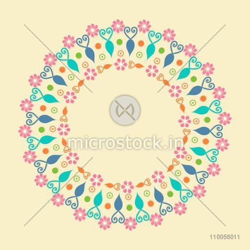 Rounded frame with abstract design decoration on beige background.