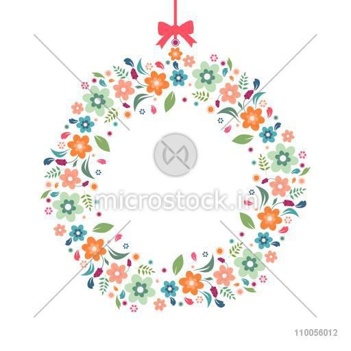 Abstract flower decorated rounded frame with ribbon on white background.