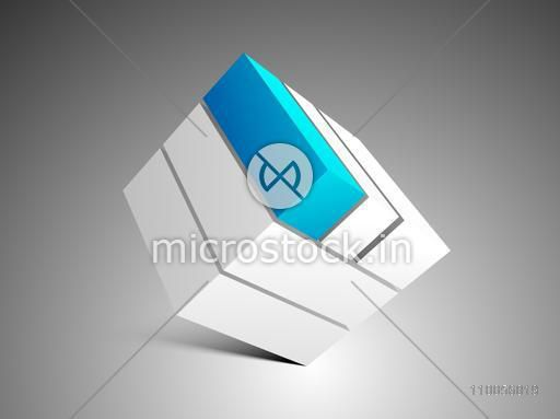 Abstract design element of block on stylish grey background.