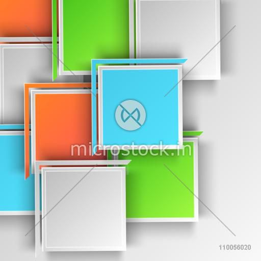 Abstract design of colourful big squares on grey background.