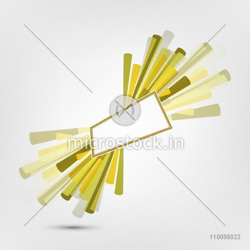 Abstract design of sticks with blank label for text on grey background.