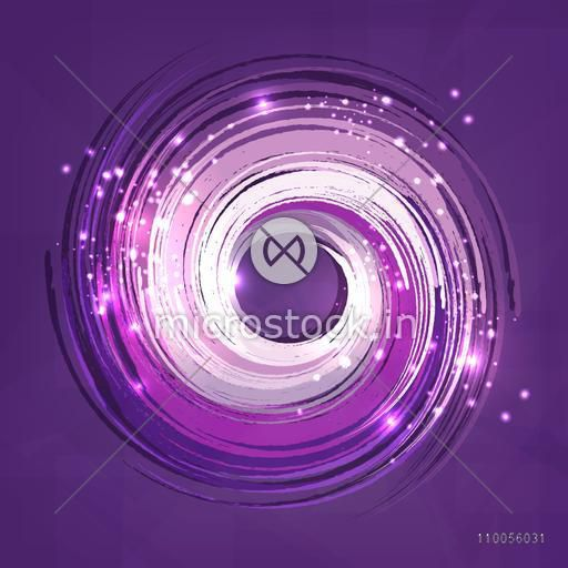 Abstract design of sparkling swirl on purple background.