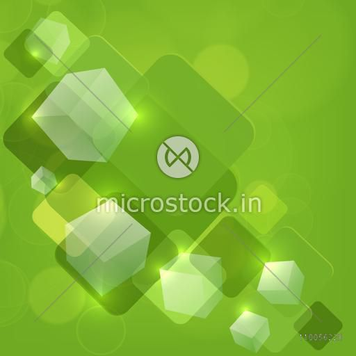 Abstract design of blocks on bright green background.