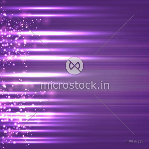 Abstract design of sparkling rays on purple background.