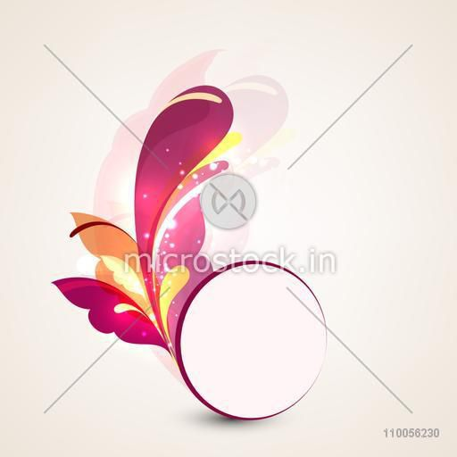 Colourful floral abstract design with rounded frame on beige background.