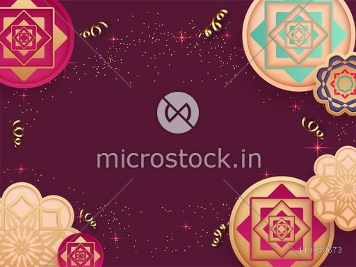 Creative traditional floral design decorated background with space for your text.
