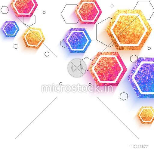 Creative abstract geometric background with colorful glittering hexagonal shapes.