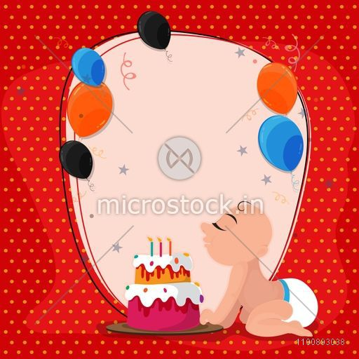 Cute baby celebrating his Birthday with Cake. Celebration background with colorful flying balloons.