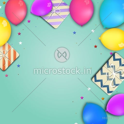 Holiday celebrations background decorated with glossy colorful balloons and wrapped gift boxes.