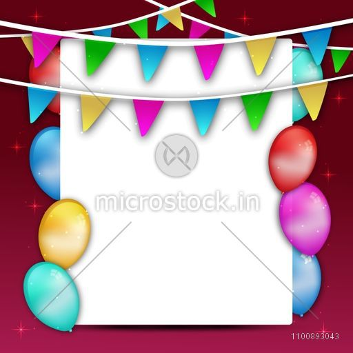 Holiday background with glossy colorful balloons and buntings decoration. Elegant greeting or invitation card design with space for your message.