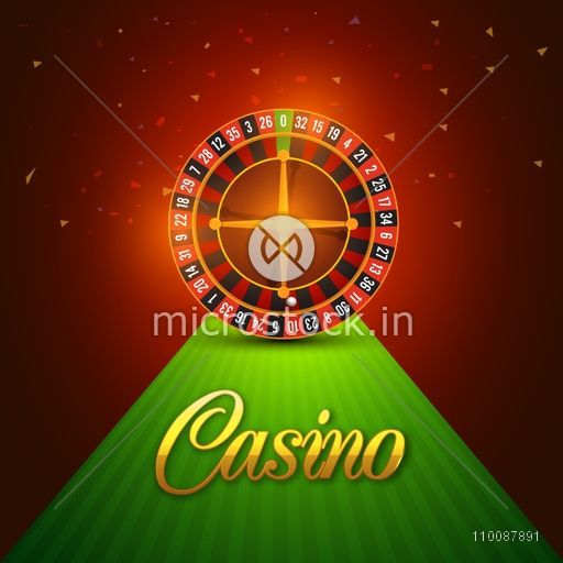 Casino Roulette Wheel on shiny background, Can be used as poster, banner or flyer design.