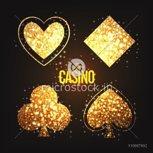 Ace Playing Card symbols made by golden glitter for Casino concept, Can be used as poster, banner or flyer design.