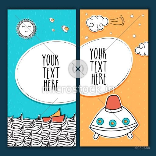Creative hand drawn greeting or invitation card design with doodle elements and space for your text.