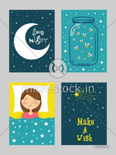 Creative hand-drawn cards set with doodle elements, Good Night cards with crescent moon, jar, cute sleeping girl, Beautiful night background with stars.