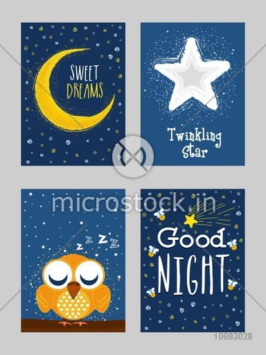 Good Night cards with golden crescent moon, twinkling star, cute sleeping owl, Creative hand-drawn cards set with doodle elements and different typographic collection.