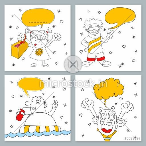 Creative hand-drawn doodle style illustration of four funny characters with blank speech bubbles for your text. Line-art style Greeting Card or nvitation Card set.
