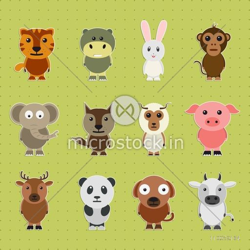 Funny cartoon characters of wild and pet animals on green background.