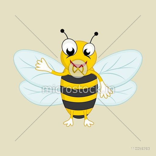 Character of a smiling bee on beige background.
