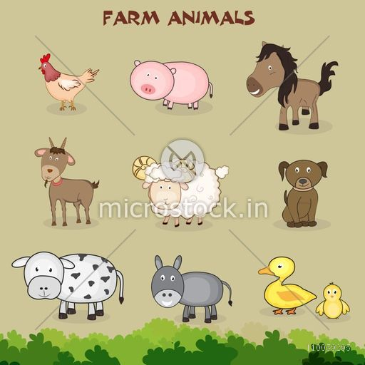 Set of ten farm animals and bird in kiddish way with green grass.