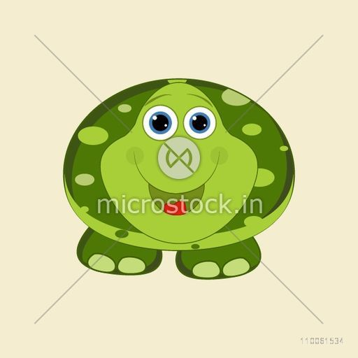 Animal character with green smiling frog on beige color.