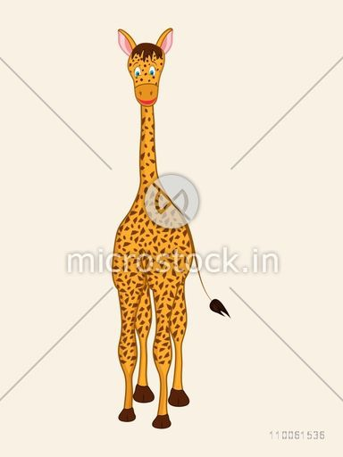 Standing giraffe character on beige background.