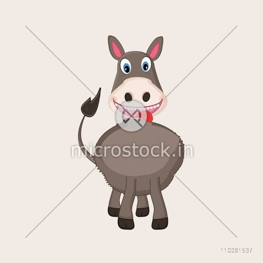 Funny character of standing donkey on beige background.