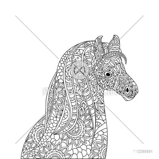 Zentangle style doodle illustration of Horse with ethnic floral tribal ornaments. Hand drawn design for adult anti stress coloring page.
