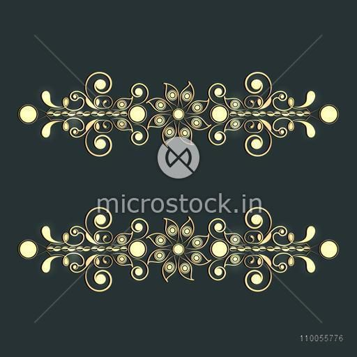 Beautiful creative floral border design on green background.
