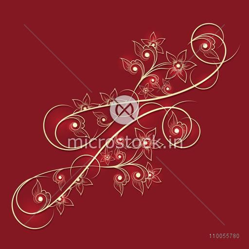 Stylish creative beautiful floral ornament in golden color on red background.