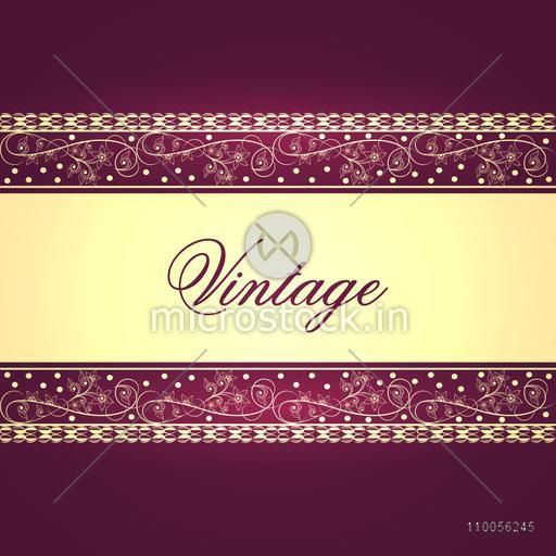 Stylish beautiful vintage card or background design with floral decorative border and space for your text.