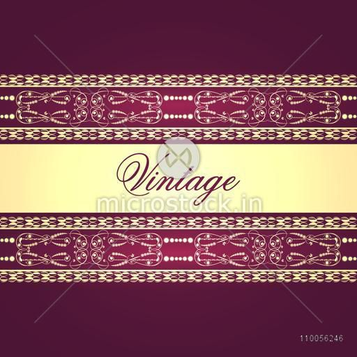 Stylish beautiful vintage card or background design with creative border and space for your text.