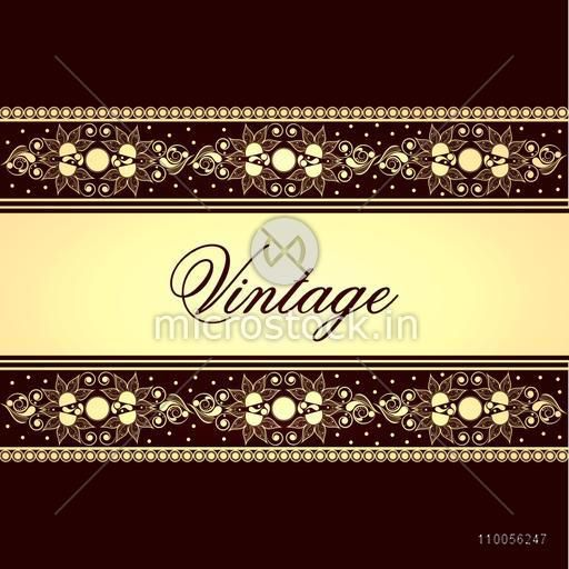 Vintage background, greeting card or invitation card design with floral creative beautiful border.