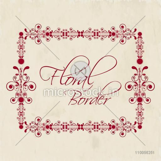 Beautiful floral decorative frame border design with space for your text on grungy background.