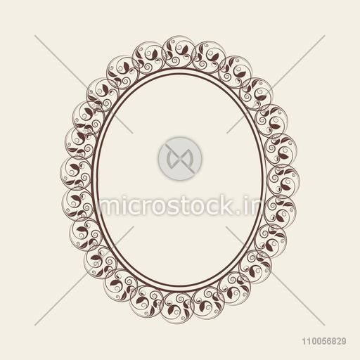 Beautiful floral design decorated frame in oval shape on grey background.