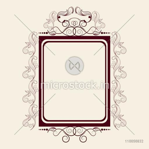Beautiful floral design decorated frame in square shape on beige background.
