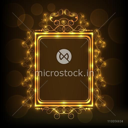 Beautiful floral design decorated square shaped frame in shiny golden color on brown background.