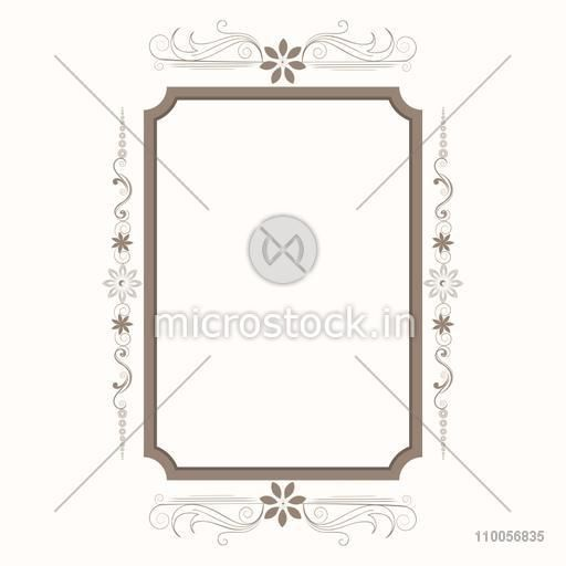 Beautiful floral design decorated frame in square shape.