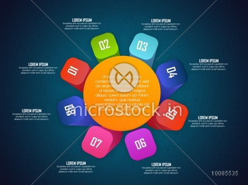 Creative colorful Infographic elements with numbers on shiny background for your Business Reports and Presentations.
