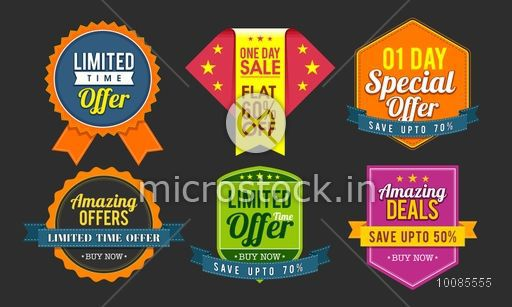 Set of six different stickers, tags, labels or badges design for Sale and Discount Offers.