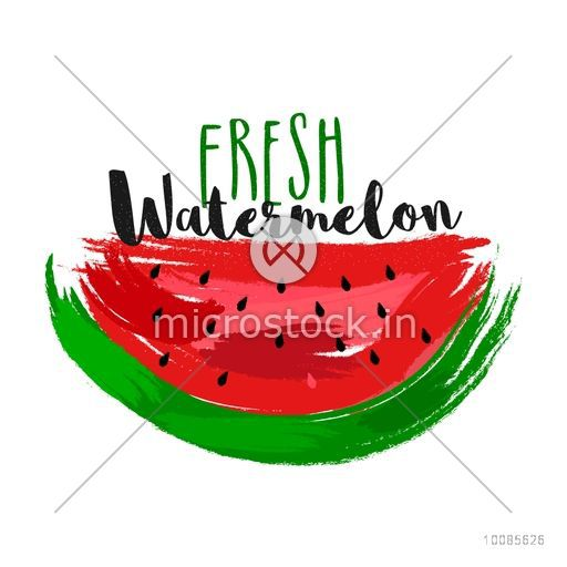 Fresh Watermelon made by abstract brush strokes on white background for Healthy Food concept, Can be used as Sticker, Tag or Label design also.