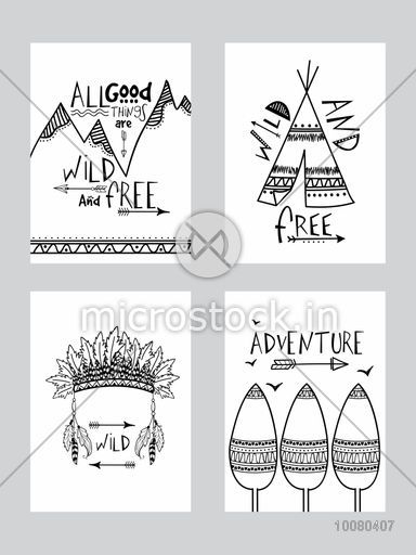 Set of four creative Boho Style Cards with different ethnic elements on grey background.