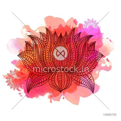 Beautiful ornamental Boho style Lotus flower on colorful splash background. Creative hand drawn illustration in doodle style. Can be used as greeting card or Invitation card design.