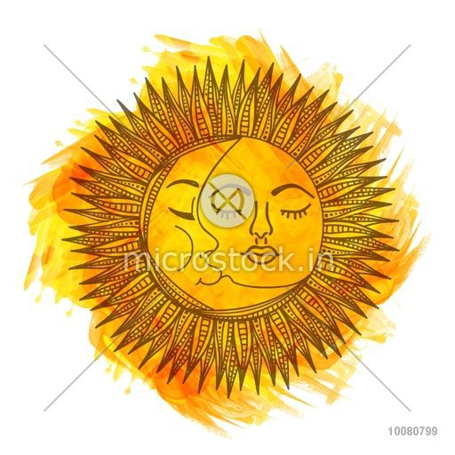 Beautiful creative illustration of Sun and Moon on abstract golden brush stroke background, Stylish doodle and boho style Invitation Elements, Tattoo Design, Astrology and Magic Symbol.