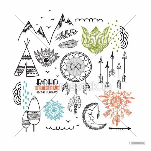 Set of creative ethnic design elements including Boho and Hippie style Dream Catcher, Arrow, Eye, Lotus, Feathers, Moon, Wigwam etc.