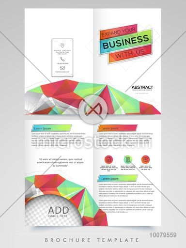 abstract design decorated two page brochure template or flyer with