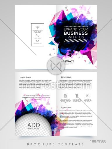 Abstract Two Page Brochure Template Or Flyer Design With Space To - Two page brochure template
